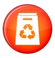 Recycle shopping bag icon flat style vector image