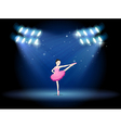 A girl dancing ballet at the stage with spotlights vector image vector image