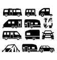 camper van icons vector image