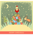 Vintage Christmas background with Santa on old vector image vector image