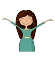Happy girl hands up vector image vector image