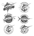 Set of marlin fishing emblems and design elements vector image