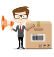 Abstract delivery service man with box and vector image