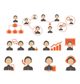 business and people icon set vector image