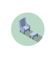 isometric blue vintage armchair 3d flat interior vector image