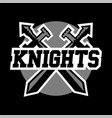 logo knights swords cross black and white color vector image