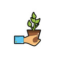 man hand with natural plant with leaves vector image
