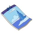 Notebook with winter landscape vector image