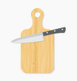 Realistic wooden cutting board and knife vector image