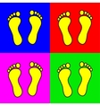 Set of 4 colorful foot steps vector image