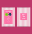 wedding invitation template with cute vector image