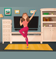 girl dance home cartoon vector image