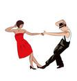 Couple man and woman dancing vintage dance pop vector image