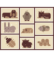 Zoo animals icons vector image