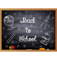 Back to School written on a black chalkboard vector image
