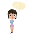 cartoon shy girl with speech bubble vector image