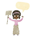 cartoon Victorian woman protesting with speech vector image