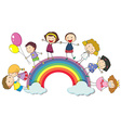 Children standing on the rainbow vector image