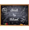 Back to School written on a black chalkboard vector image
