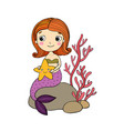 beautiful little mermaid with a starfish sitting vector image