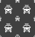 Fire engine icon sign Seamless pattern on a gray vector image