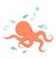 octopus and fishes vector image