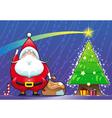 Santa Claus with Christmas tree vector image