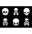 Skull and crossbones icons in cartoon style vector image