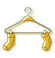 yellow watercolor silhouette of pair of socks in vector image