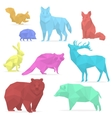 Animals low poly Origami paper animals wolf bear vector image
