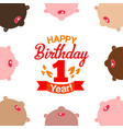 first happy birthday and faces around vector image