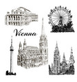 vienna - hand drawn bildings collection vector image