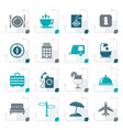 stylized traveling and vacation icons vector image vector image