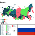 Russian map with named regions vector image