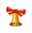 Gold bell with red bow icon cartoon style vector image