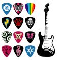 guitar and pick set vector image