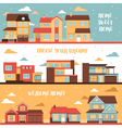 Cottage And Village Houses Horizontal Banners vector image