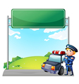 A policeman with his patrol car near the signage vector image vector image