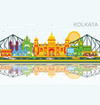 kolkata skyline with color landmarks blue sky and vector image