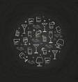 alcoholic drinks icons on chalkboard vector image vector image