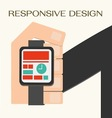Responsive Web Design hand with a wrist watch vector image