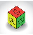 CubeWithBatterySymbolX vector image vector image