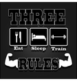 three rules for muscle growth over black vector image