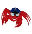 Cartoon of the crab in service cap and spectacles vector image