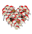 Merry christmas Happy peoples for your design vector image vector image