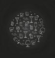 alcoholic drinks icons on chalkboard vector image