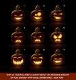 Dark Jack O Lantern Cartoon 9 Vampire Expressions vector image