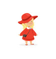 elegant blonde little girl posing in red hat and vector image