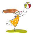 Happy little girl playing ball vector image