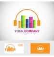 Music headphones volume logo vector image